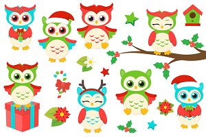Christmas Owls Clipart
