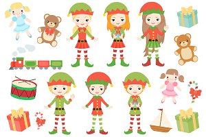 Christmas Elfs Clipart