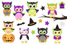 Cute Halloween Owls Clipart