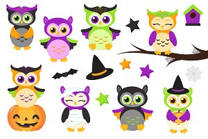 Cute Halloween Owls Clipart
