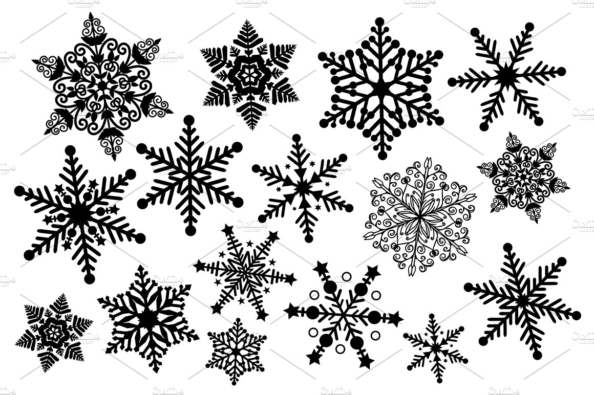 Black And White Snowflake Clipart Illustrations Creative Market
