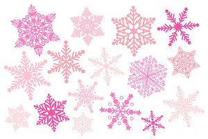 Pink Snowflake Silhouette Clipart