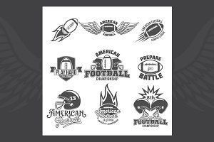 Set of american football labels
