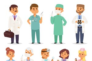 Different doctors characters vector