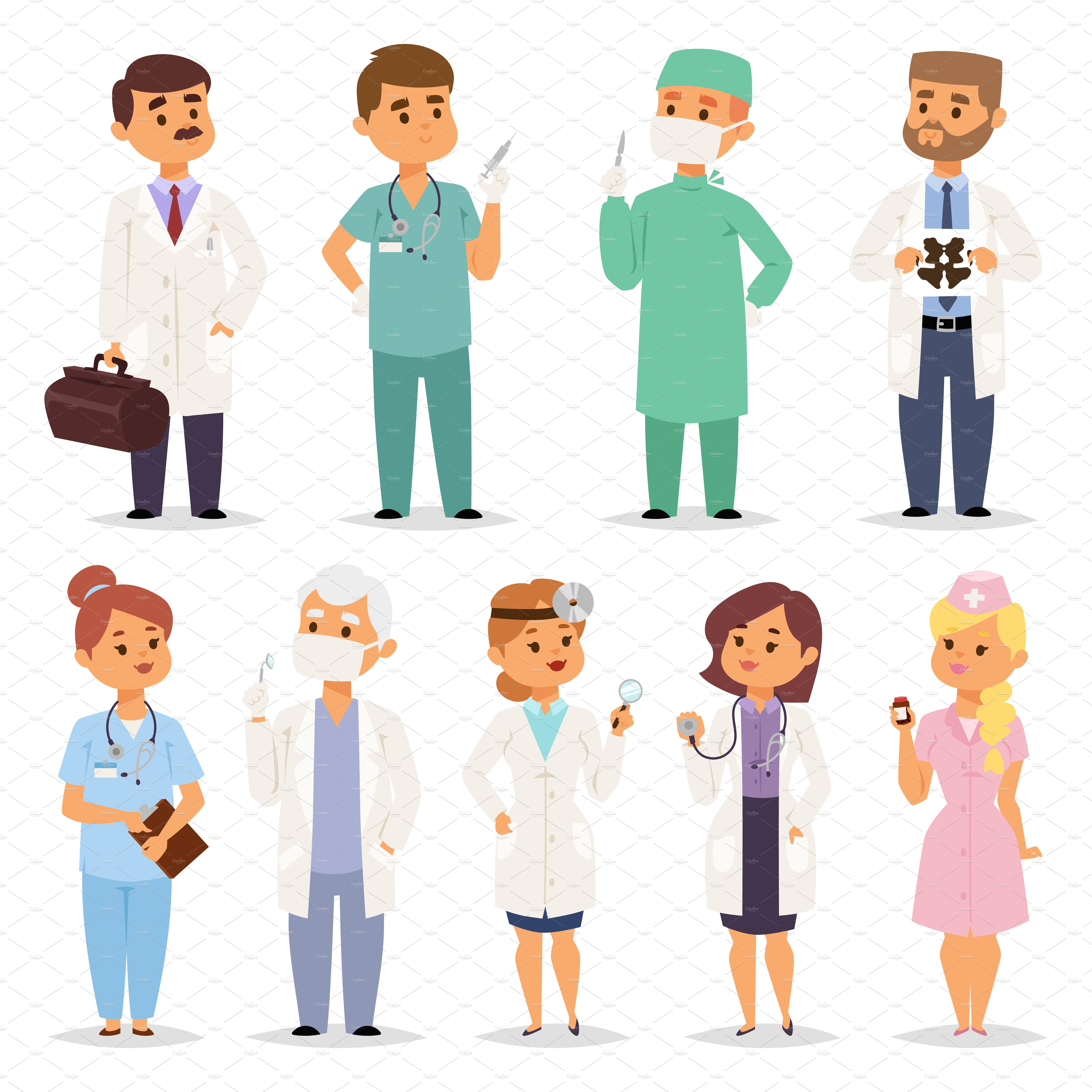 Different doctors characters vector ~ Illustrations ...