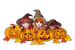 Halloween: children and pumpkins