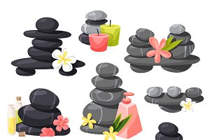 Relax stones vector set