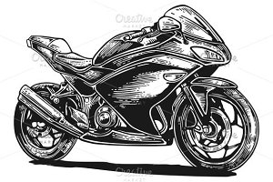Motorcycle sport. Side view.