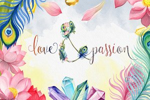 Love & Passion watercolor flowers