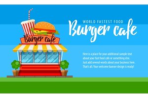 Fast food cafe flyer or banner design with hamburger