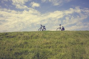 Two bikes on a Dutch dike