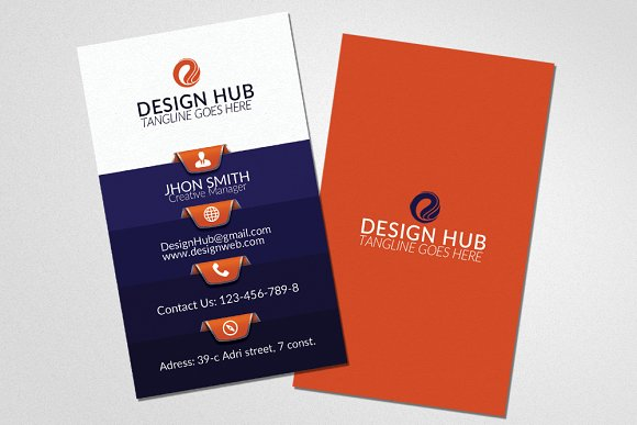 Vertical Business Card Template in Card Templates - product preview 2