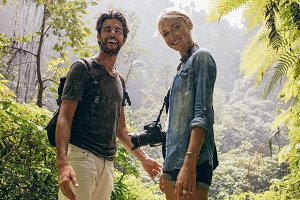 Hiker couple standing together