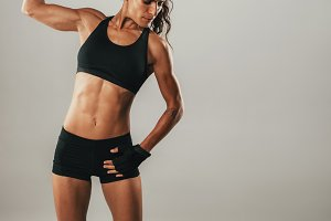 Fit strong young woman