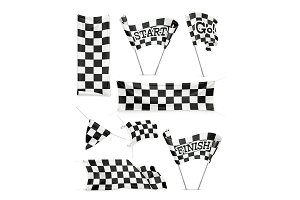Checkered banners and flags