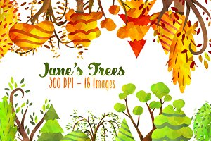 Trees Clipart - Autumn and Spring