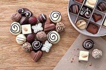 Chocolate candies heart