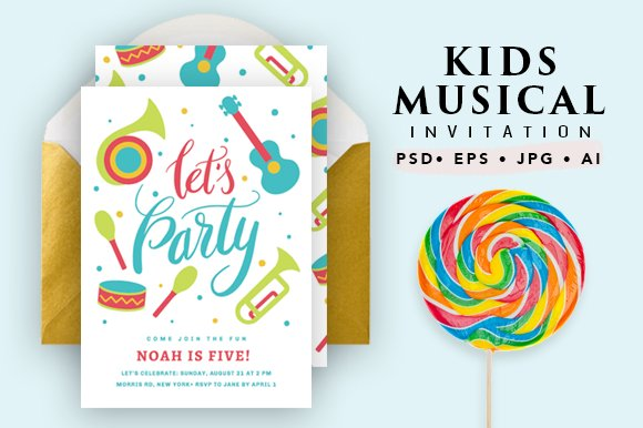 Printable Musical Birthday Card Invitation Templates Creative Market