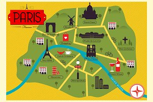 Map of Famous Cities Illustrations