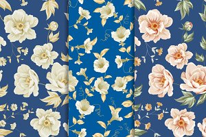 8 Best Vintage Floral Patterns Set