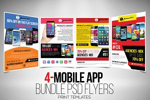 4 Mobile App Flyer Template Bundle