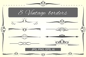 Vintage borders vector set