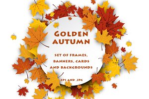 Golden autumn set with maple leaves