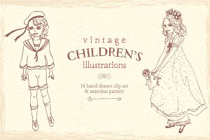 Vintage child illustrations