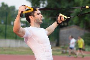side view man suspension training