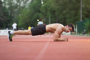 side view plank man muscular