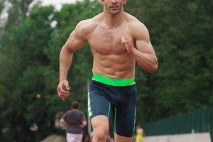 muscular sprinter runner fast run