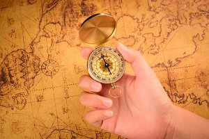 Old gold vintage compass