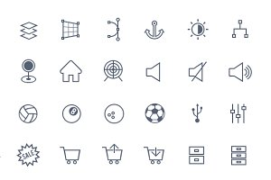 Linicons 310 icons PSD CSH