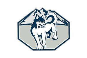 Siberian Husky Dog Mountain Retro