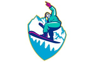 Snowboarder Holding Snowboard Alps