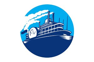 Steamboat Ferry Passenger Ship Retro