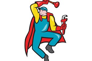 Super Plumber Plunger Wrench Cartoon