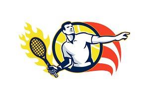 Tennis Player Flaming Racquet Ball