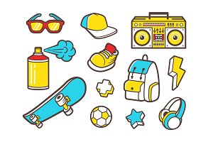 Urban lifestyle flat vector icons