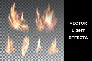 Fire flames. Vector light effects