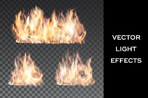 Campfire. Vector light effects set