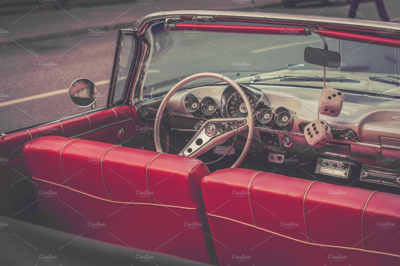classic red car interior transportation photos creative market. Black Bedroom Furniture Sets. Home Design Ideas