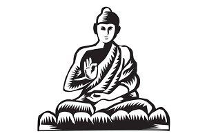 Buddha Lotus Pose Woodcut