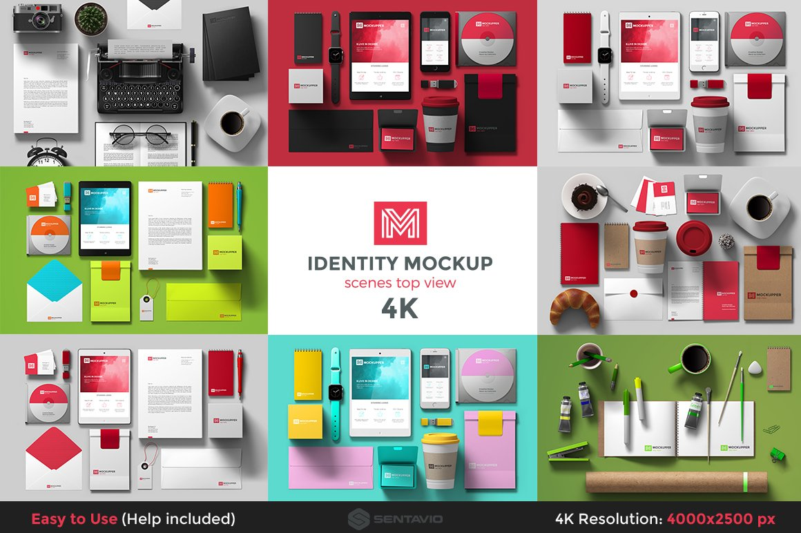 identity mockup top view 4k set product mockups creative market