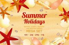 Summer holidays large vector set