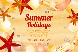 Summer holidays large vector set