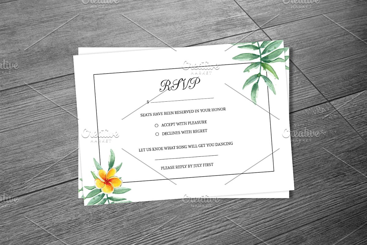 Wedding RSVP Card Template  Creative Wedding Templates ~ Creative Market