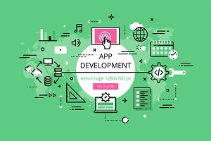 App Development hero banners set