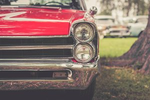 Classic Red Car Headlight