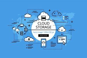 Cloud storage hero banners set